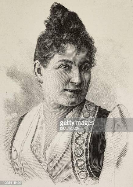 Portrait of Silvia Fantechi Pietriboni Italian actress engraving from a photograph by Jankovich from L'Illustrazione Italiana year 19 no 11 March 13...