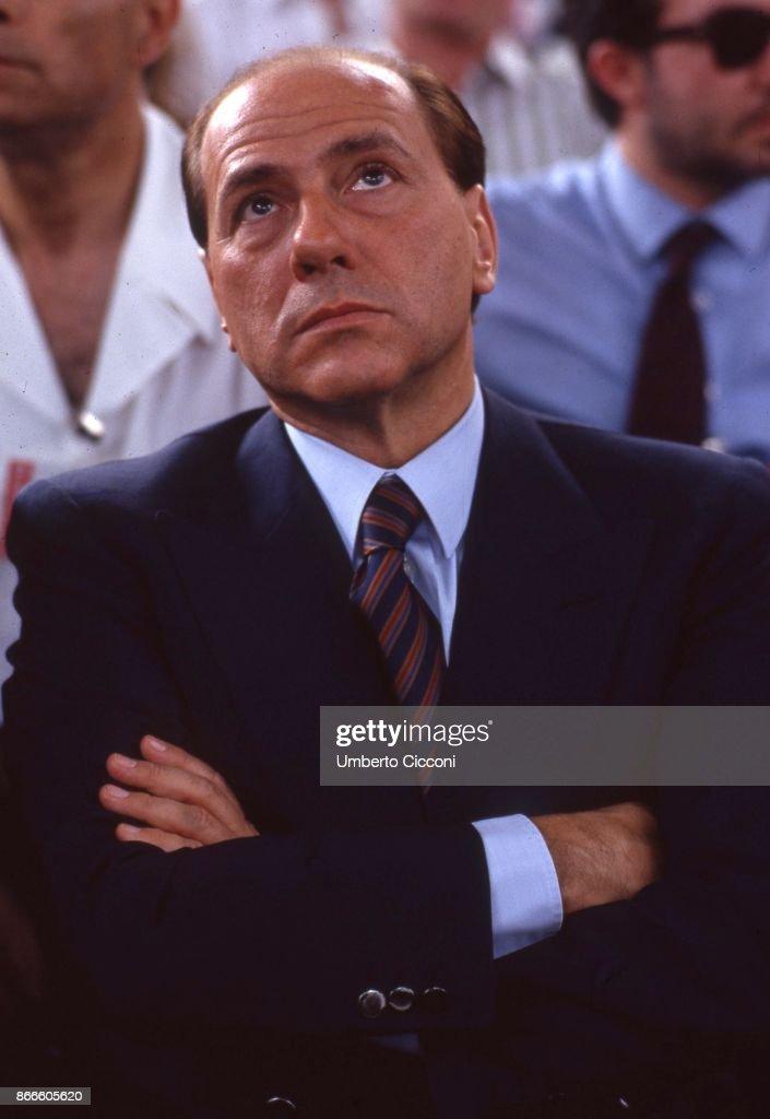 Portrait of Silvio Berlusconi at the convention of the Italian Socialist Party in 1987 in Rimini : News Photo