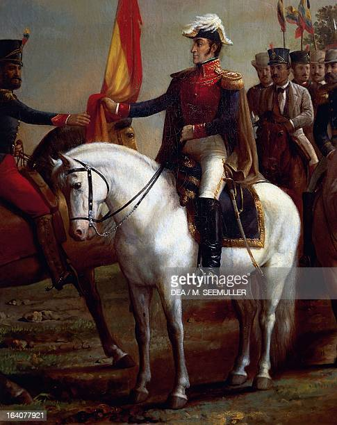 Portrait of Simon Bolivar honoring the flag after the Battle of Carabobo, June 24, 1821. Detail. Caracas, Museo Bolivariano