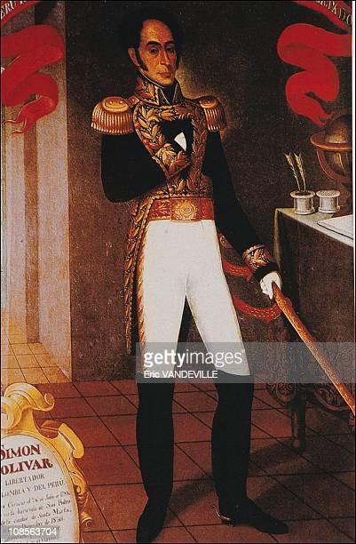 Portrait of Simon Bolivar in Caracas Venezuela in September 1991