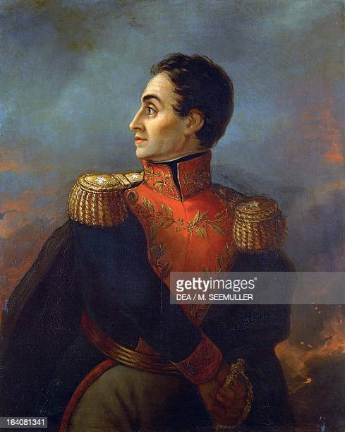 Portrait of Simon Bolivar , Venezuelan general, patriot and revolutionary in battle. Painting by San Martin de Balcarce. Buenos Aires, Museo...