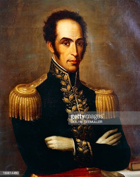 Portrait of Simon Bolivar , Venezuelan general, patriot and revolutionary. Painting by Rafael Salas . South America, 19th century.
