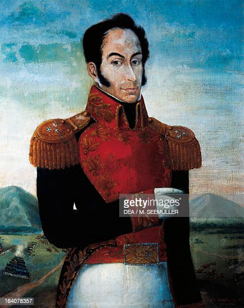 Portrait of Simon Bolivar , Venezuelan general, patriot and revolutionary. Painting by Juan Antonio Michelena. Caracas, Museo Bolivariano