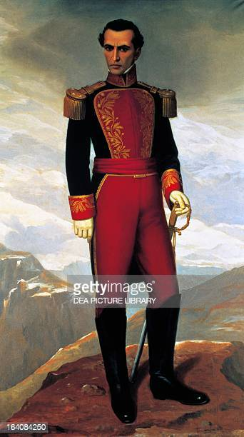 Portrait of Simon Bolivar , Venezuelan general, patriot and revolutionary, painting by Antonio Salguero. Quito, Museo De La Ciudad