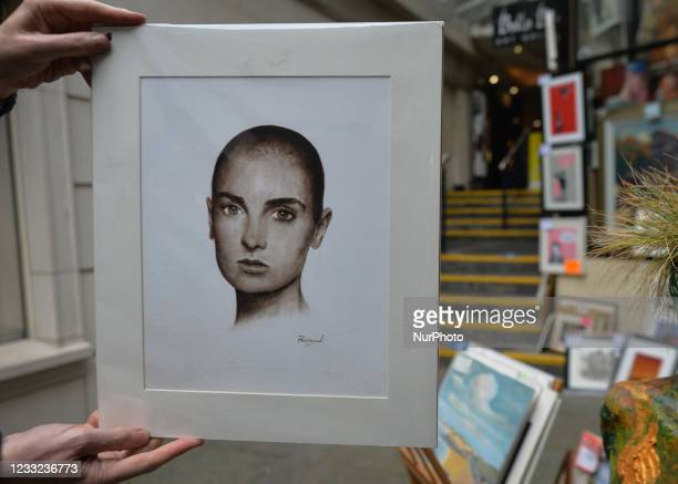 Portrait of Sinead O'Connor, also known as Magda Davitt and Shuhada 'Sadaqat, by Irish artist Pervaneh Matthews, seen in front of the Balla Ban Art...