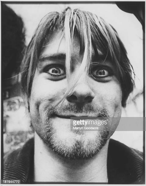 Portrait of singer and guitarst Kurt Cobain from American grunge band Nirvana in Shepherd's Bush London October 1990