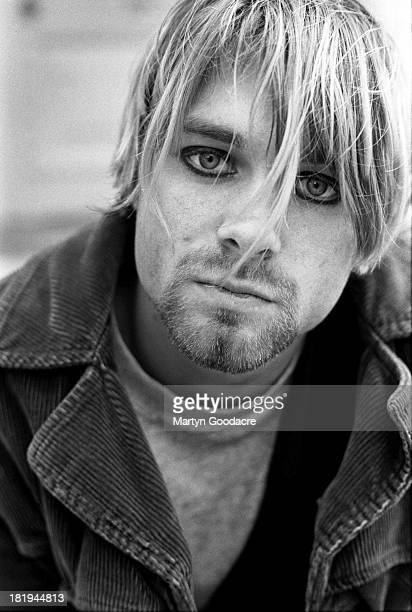 Portrait of singer and guitarst Kurt Cobain from American grunge band Nirvana in Shepherd's Bush London October 1990