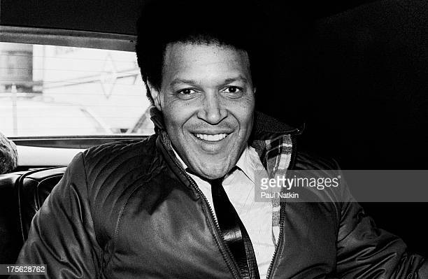 Portrait of singer Chubby Checker traveling in an automobile Chicago Illinois April 30 1982