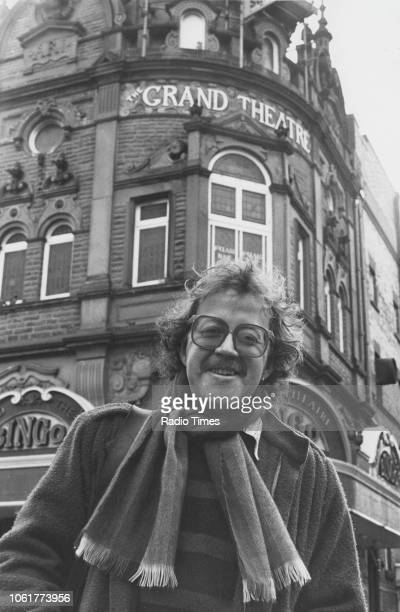 Portrait of singer Mike Harding outside the Grand Theatre in Blackpool photographed for Radio Times in connection with his self titled BBC television...