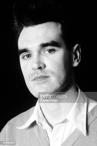 A portrait of singer Morrissey of English alternative rock group The Smiths taken at guitarist Johnny Marr's house in Manchester 1986