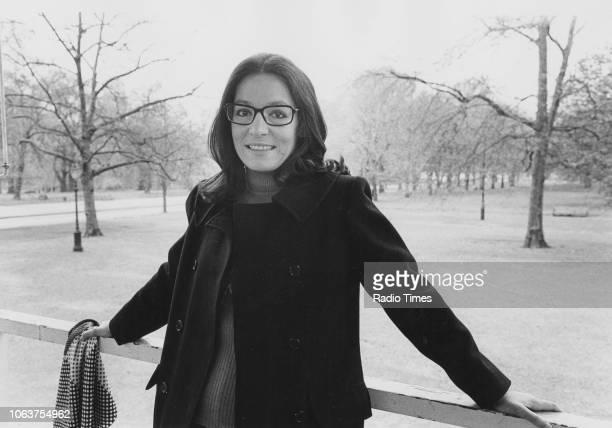 Portrait of singer Nana Mouskouri in a park, April 1974.