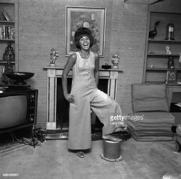 Portrait of singer Shirley Bassey by a fireplace September 14th 1964
