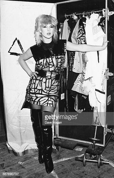 Portrait of singer Toyah Wilcox with her stage outfits, backstage at the Hammersmith Apollo in London, September 9th 1982.