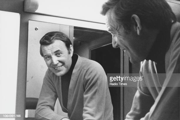 Portrait of singer Val Doonican looking into a mirror March 27th 1980