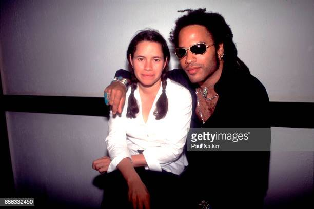 Portrait of singers Natalie Merchant left of 10000 Maniacs and Lenny Kravitz during the Horde Tour at the Poplar Creek Music Theater In Hoffman...