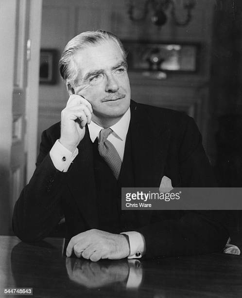 Portrait of Sir Anthony Eden at his desk on the day he took up the job as Prime Minister April 1955 Printed at the time of his illness on January...