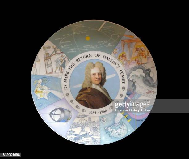 Portrait of Sir Edmund Halley on a commemorative plate to mark the return of Halley's Comet 185-86.