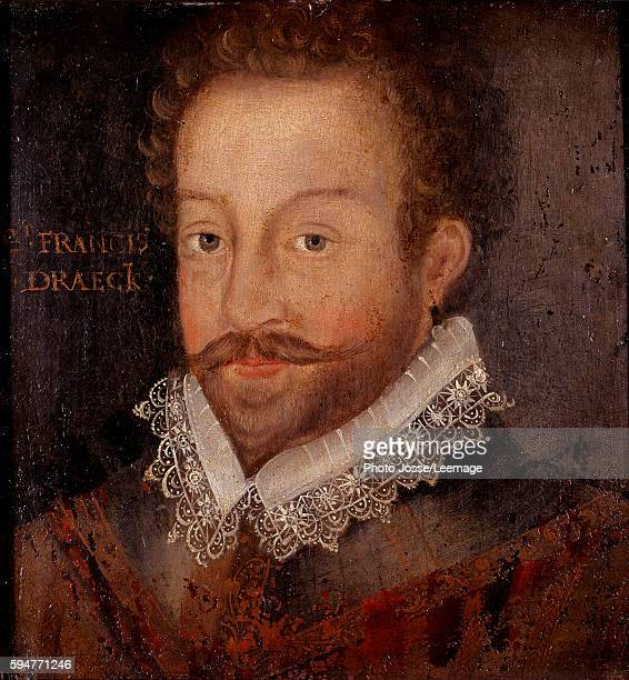 Portrait of sir Francis Drake english navigator Painting by Jocodus Hondius National Portrait Gallery London UK