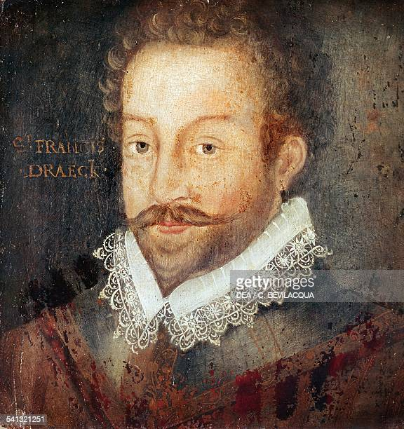Portrait of Sir Francis Drake English privateer navigator slaver and politician painting from an engraving by Jodocus Hondius oil on panel London...