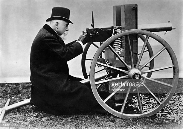 Portrait of Sir Hiram Stevens Maxim with his Maxim Gun Undated photograph