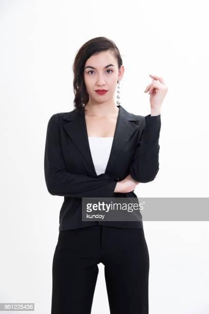 Portrait of smart businesswoman on white background.