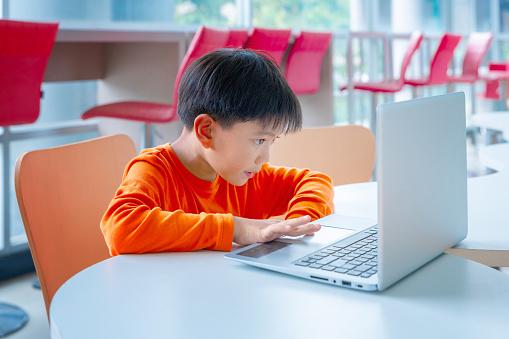 Portrait of smart schoolgirls and schoolboys looking at the laptop in classroom 1059003244