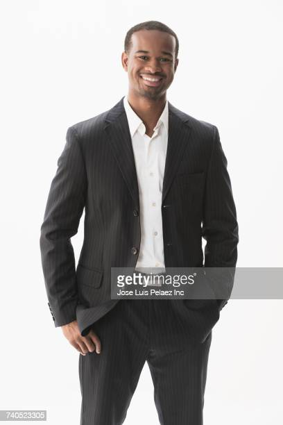 portrait of smiling african american businessman - black jacket stock pictures, royalty-free photos & images