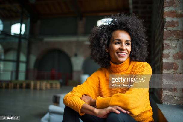 portrait of smiling african american woman - looking away stock pictures, royalty-free photos & images