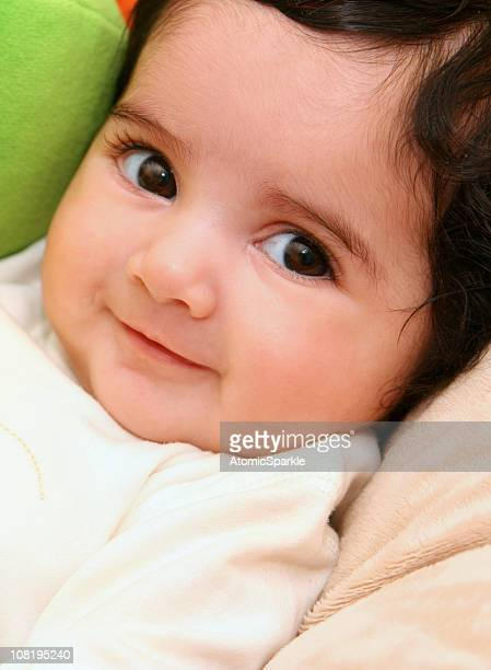 portrait of smiling baby girl - indian baby stock photos and pictures