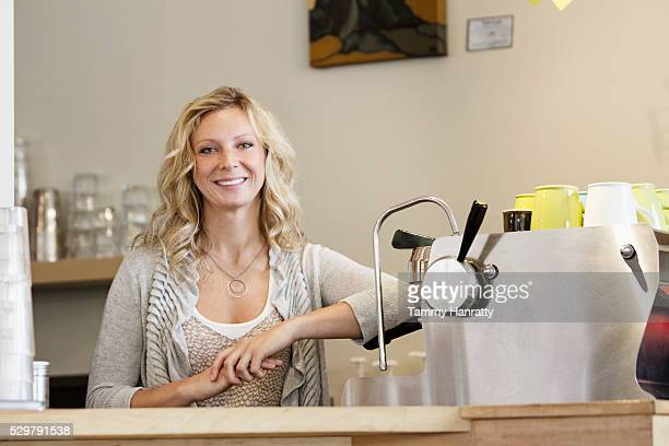 portrait of smiling barista - tammy bar stock pictures, royalty-free photos & images