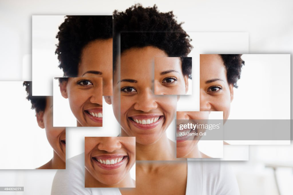 Portrait of smiling Black woman in fragmented parts : Stock Photo