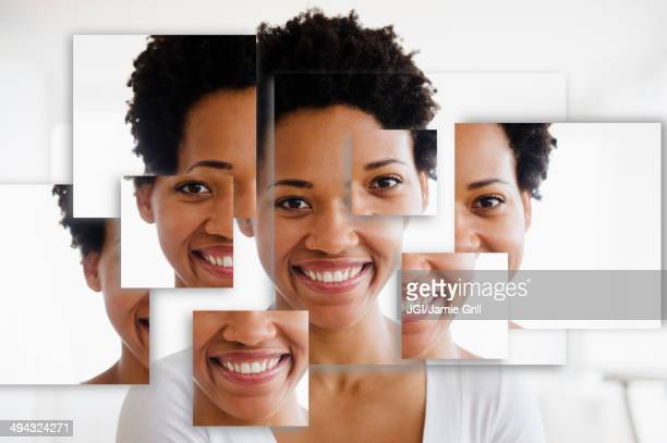 Portrait of smiling Black woman in fragmented parts