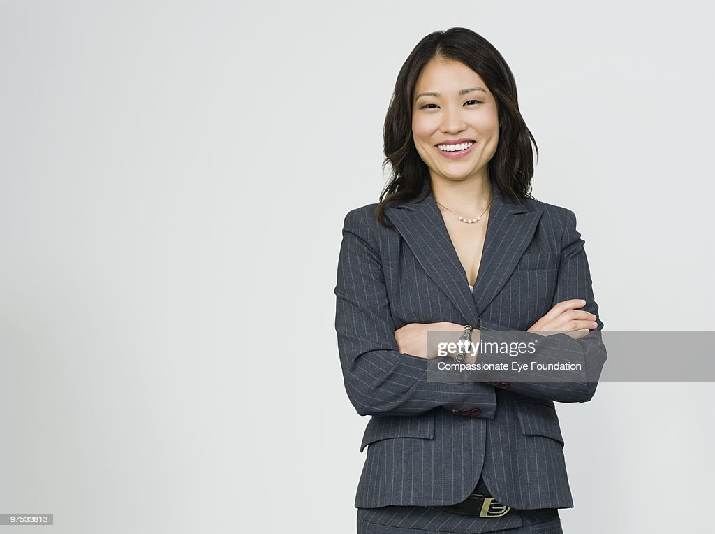 Portrait of smiling business woman : ストックフォト