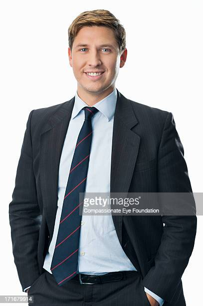 portrait of smiling businessman - traje completo - fotografias e filmes do acervo