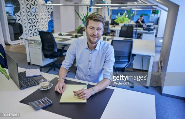 portrait of smiling businessman sitting at desk in open-plan office - einzelner mann über 30 stock-fotos und bilder