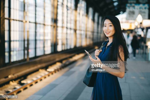 portrait of smiling businesswoman. - korean ethnicity stock pictures, royalty-free photos & images
