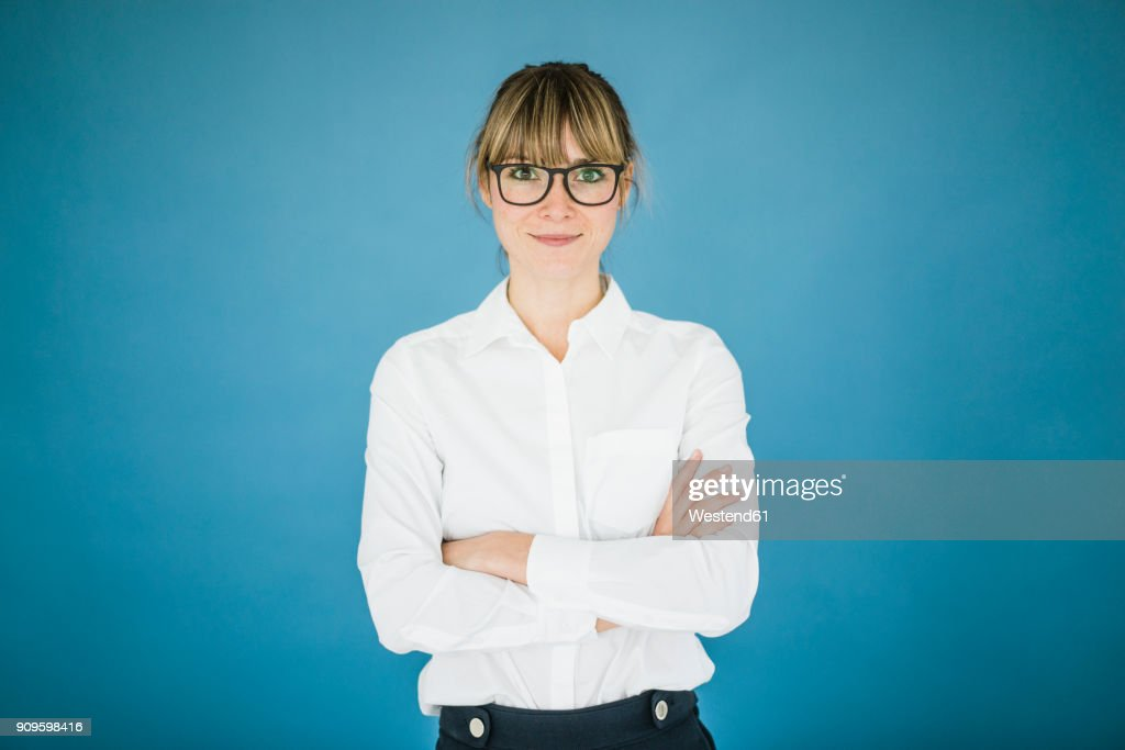 Portrait of smiling businesswoman with glasses : Foto stock