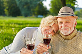 portrait smiling couple having red wine
