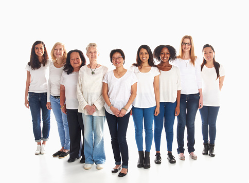 Portrait of smiling diverse women standing in a row - gettyimageskorea