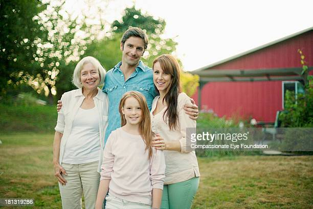 Portrait of smiling family outdoors