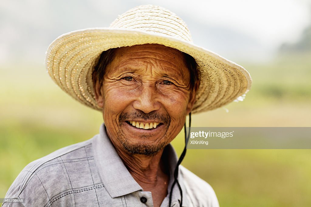 Portrait of smiling farmer, rural China, Shanxi Province : Stock Photo