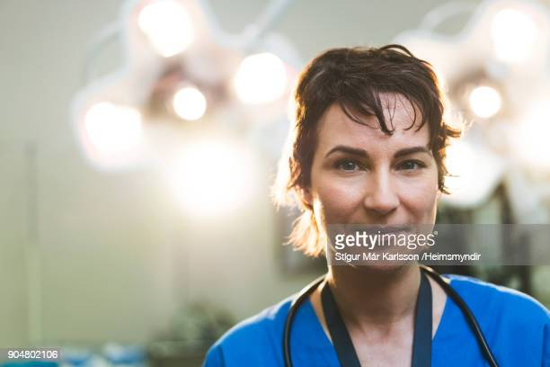 Portrait of smiling female doctor in hospital