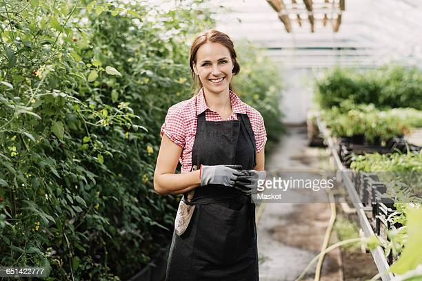 portrait of smiling female gardener standing in greenhouse - health food shop stock pictures, royalty-free photos & images