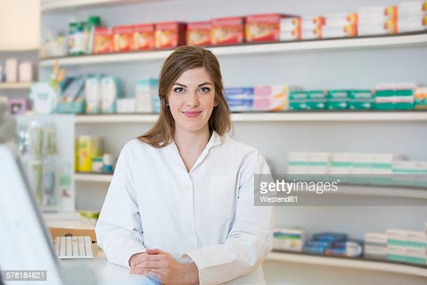 Portrait of smiling female pharmacist