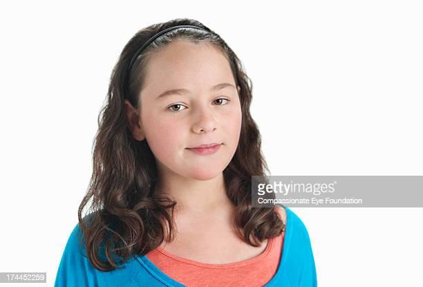 Portrait of smiling girl (11-12)