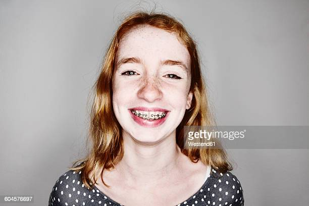 Portrait of smiling girl with braces
