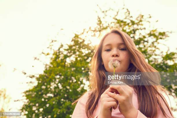 portrait of smiling girl with long brunette hair standing outdoors, blowing dandelion. - richmond upon thames stock pictures, royalty-free photos & images