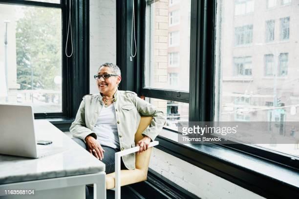 portrait of smiling mature female business owner sitting at desk in office - solo una donna matura foto e immagini stock