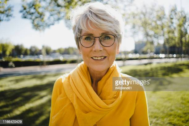 World S Best Older Woman Glasses Grey Short Hair Stock