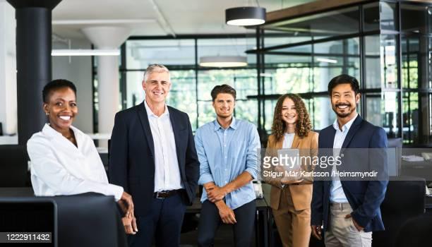 retrato de profesionales multiétnicos sonrientes - cinco personas fotografías e imágenes de stock